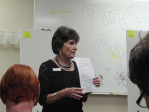 Anne Sundquist at a focus group meeting
